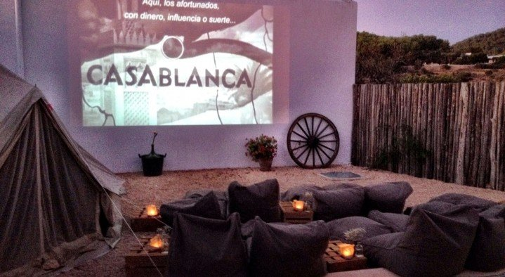 Private movie screening on our terrace  Very special guesthouse Ibiza Cami des Turs San Miguel Ibiza